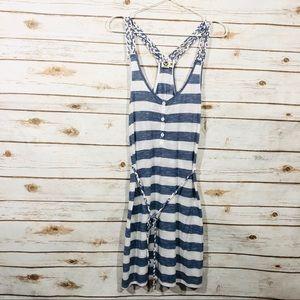 Lagaci sleeveless racerback blue stripe mini dress